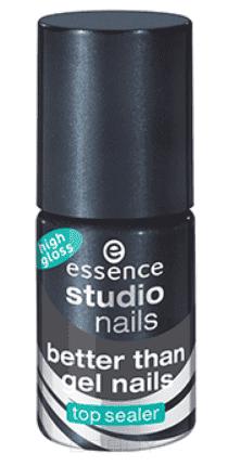 Essence, Укрепляющее верхнее покрытие для ногтей с гель-блеском Better than gel nails top sealer high