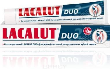 Зубная паста DUO, 75 млФармакологическое действие&#13;<br>&#13;<br>Профилактическая зубная паста. Эффективно реминерализует эмаль зубов. Обладает стойким антикариесным действием. Подавляет рост и размножение кариесогенных бактерий. Надолго освежает полость рта. Идеальна в сочетании с LACALUT Fluor Gel&#13;<br>&#13;<br>Состав (активные компоненты)&#13;<br>&#13;<br>Аминофторид, фторид натрия, хлоргексидин, ментол.&#13;<br>&#13;<br>Свойства&#13;<br>Реминерализирующий эффект&#13;<br>&#13;<br>Антикариесный эффект&#13;<br>&#13;<br>Антисептический эффект&#13;<br>&#13;<br>Дезодорирующий (освежающий) эффект&#13;<br>&#13;<br>&#13;<br>Аминофторид и фторид натрия   эффективно реминерализуют эмаль, повышают ее кариесрезистентность, тормозят жизнедеятельность бактерий, вызывающих кариес.&#13;<br>&#13;<br>Хлоргексидин – обладает мощным антисептическим эффектом, уничтожая патогенную микрофлору, вызывающую кариес и воспалительные заболевания полости рта.&#13;<br>&#13;<br>Ментол – оказывает стойкий освежающий эффект.&#13;<br>&#13;<br>Способ применения&#13;<br>&#13;<br>Чистить зубы минимум 2 раза в день на протяжении не менее 3-х минут. Рекомендуется использовать с 14 лет.<br>