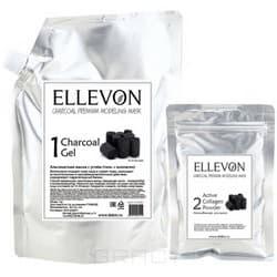 Ellevon, Альгинатная маска премиум с углем (гель + коллаген), 1000/100 мл ellevon альгинатная маска премиум с гранатом гель коллаген 1000 100 мл