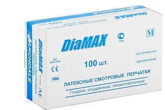 Archdale, Перчатки латексные гладкие опудренные DiaMax, 100 шт (3 размера), размер L большой, 100 шт перчатки латексные home queen размер l