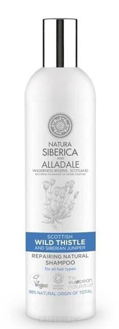 Восстанавливающий шампунь для волос Alladale, 400 млОписание:&#13;<br> &#13;<br> Натуральный сертифицированный восстанавливающий шампунь на основе органического чертополоха-символа Шотландии и дикого сибирского можжевельника, бережно собранного на нашей органической ферме в Хакасии. Органический экстракт чертополоха глубоко увлажняет волосы, а органический экстракт сибирского можжевельника укрепляет их.&#13;<br> &#13;<br> Способ применения:&#13;<br> &#13;<br> Нанесите небольшое количество шампуня на влажные волосы, вспеньте и смойте водой.&#13;<br> &#13;<br> Состав:&#13;<br> &#13;<br> Aqua, Sodium Cocoyl Isethionate, Lawyl Glucoside, Cocamidopropyl Retain, Pineamidopropyl Betainem, Hippophae Rhamnoidesamidopropyl Betainem, Guar Hydroxypropytrimonium Chloride, Onopordon Acanthium Extract*, Juniperus Sibirica Extract*, Pinus Pumila Needle Extract., Rosa Canina Fruit Oil*, Hesperis Sibirica Extract., Lark Sibirica Needle Extract., Achillea Millefolium Rower Water*, Scttrellaria Baicalensis Extract, Anthemis Nobilis Flower Extract*, Glycerin, Saponaria Officinalis Root Extract*, Hippophae Rhamnoides Fruit Oil...<br>