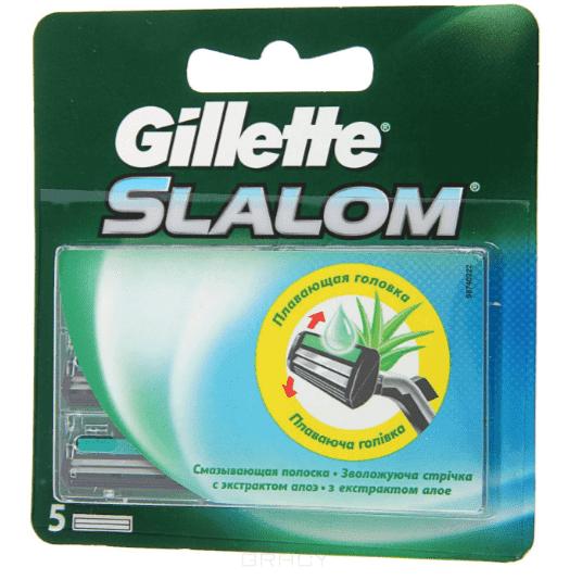 Gillette, Сменные кассеты Slalom с двойным лезвием, 5 штСредства для бритья<br><br>