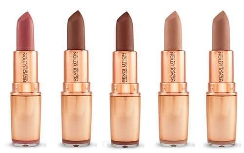 MakeUp Revolution, Помада для губ Iconic Matte Nude Lipstick, 3.2 гр (4 оттенка), Wishful, бежево-розовый  - Купить
