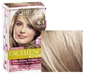 LOreal, Краска для волос Excellence Creme (32 оттенка), 270 мл 8.1 Светлый русый пепельныйОкрашивание волос Casting, Preference, Prodigy, Excellence<br><br>