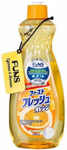 Funs, Жидкость для мытья посуды овощей и фруктов свежий апельсин, 600 мл  - Купить