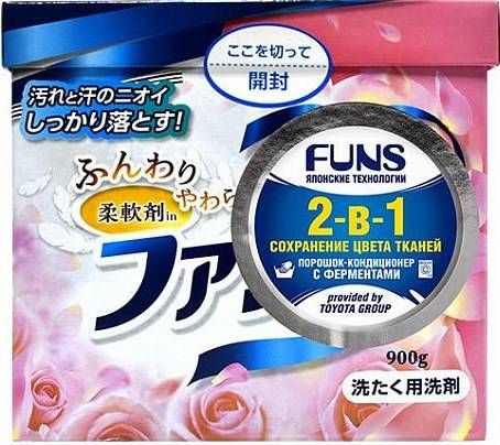 Купить Funs, Стиральный порошок концентрированный 2-в-1 с кондиционирующим эффектом, 900 гр