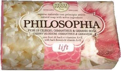 Мыло Философия лифтинг, 250 грМыло PHILOSOPHIA Lift от Nesti Dante очаровывает ароматом цветущей вишни, сладостью розовой герани и свежим шлейфом цветущего османтуса, даря вам радость, а вашей коже   омоложение благодаря высокому содержанию витамина E в драгоценных растительных экстрактах. &#13;<br>  &#13;<br> Мыло на 98 % состоит из натуральных масел - оливкового и пальмового. Благодаря традиционной дорогостоящей  марсельской  технологии мыловарения, масла сохраняют полезные свойства, интенсивно увлажняя кожу во время очищения. Не содержит синтетических сурфактантов, разрушающих защитный слой кожи. &#13;<br>    &#13;<br>   &#13;<br>    &#13;<br>   Подробнее на Piluli.ru:http://www.piluli.ru/product154274/product_info.html<br>