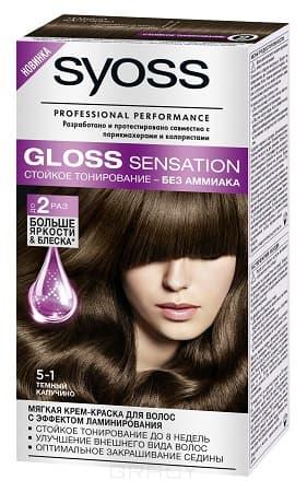 Syoss, Крем-краска для волос Gloss Sensation без аммиака, 115 мл (20 оттенков) 5-1 Темный капучиноОкрашивание<br><br>