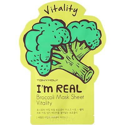 Тканевая маска для лица с экстрактом брокколи I'm Real Broccoli Mask Sheet Vitality, 21 млМаска плотно прилегает к коже и обеспечивает глубокое и интенсивное питание и увлажнение. Маска состоит из 100% хлопка, не содержит парабенов, искусственных красителей и талька. Экстракт брокколи содержит большое количество антиоксидантов, витаминов и минералов, которые защищают кожу от негативного воздействия внешних факторов окружающей среды, придают сияние и выравнивают тон кожи. Применение маски улучшает регенерацию клеток кожи, способствует омоложению и разглаживанию морщин. Применяется для всех типов кожи.&#13;<br>&#13;<br>    &#13;<br>  &#13;<br>&#13;<br>Применение: нанести маску на предварительно очищенное лицо, оставить на 20-30 минут, затем снять маску, а остатки средства легкими движениями втереть в кожу.<br>