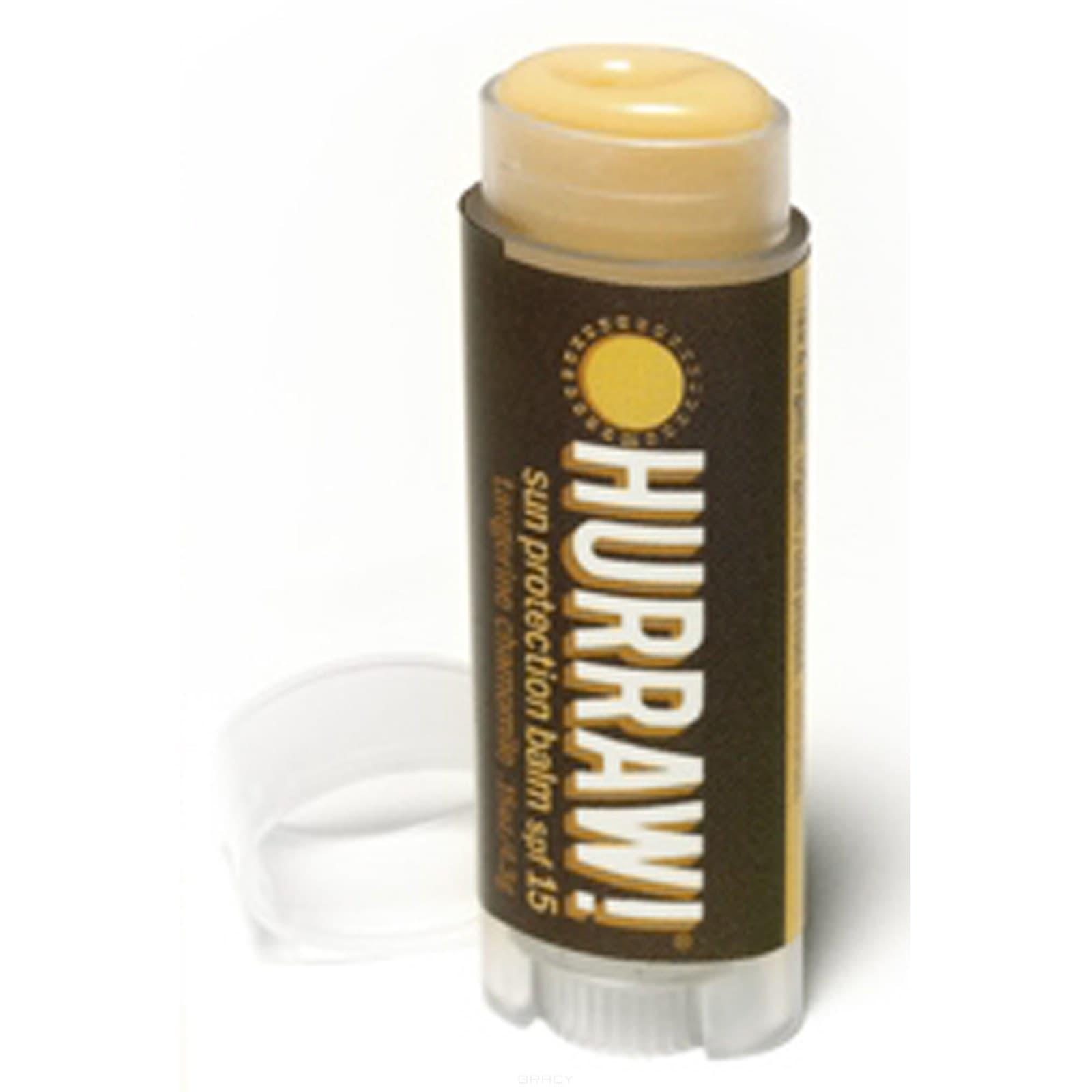 Бальзам для губ Мандарин, ваниль, ромашка Sun Protection Balm SPF 15Бальзам для губ Hurraw! Капха создан на основе аюрведы (древней индийской медицины). Аюрведическая серия бальзамов создавалась более двух лет. Натуральный продукт с необычным сочетанием вкусов. Такое разнообразие вкусов оценят даже самые придирчивые гурманы. Полностью органическая продукция, не имеющая в составе ингредиентов животного происхождения. Удобная форма позволяет помещать бальзам в карман джинсов.&#13;<br>&#13;<br>  &#13;<br>&#13;<br>&#13;<br>Особенности бальзамов Hurraw!:&#13;<br>&#13;<br>Удобная форма упаковки, позволяет использовать бальзам даже за рулем автомобиля;&#13;<br>&#13;<br>Содержат кунжутное масло, кокосовое молоко, масло какао и другие натуральные ингредиенты, делающие Ваши губы мягкими и привлекательными;&#13;<br>&#13;<br>Имеют приятный запах и вкус;&#13;<br>&#13;<br>Не содержат воска и вредных веществ, чистый продукт;&#13;<br>&#13;<br>Высокое качество, соответствующее цене;&#13;<br>&#13;<br>22 ярких вкуса;<br>