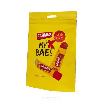 Carmex, Набор бальзамов для губ с ароматом клубники, 2 шт carmex бальзам для губ с ароматом граната в стике spf15 бальзам для губ с ароматом граната в стике spf15