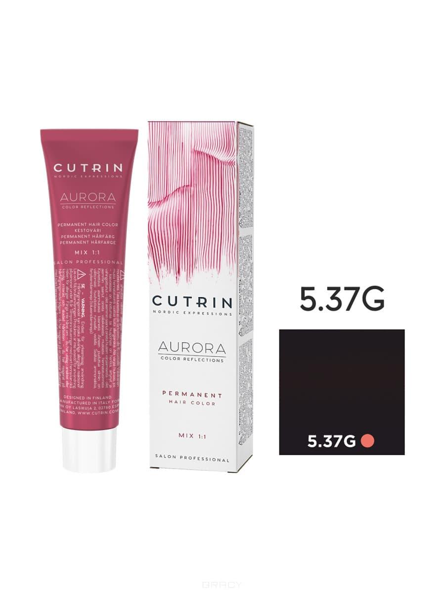 цены Cutrin, Кутрин краска для волос Aurora Аврора (SCC-Reflection) (палитра 97 оттенков), 60 мл 5.37G Светло-коричневое золотое дерево