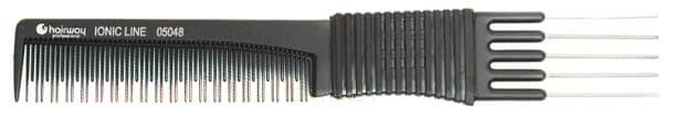 Расческа Ionic Line вилка метал. 191 мм 05048Частые зубцы разной длины&#13;<br>Пластик (ионизированный)&#13;<br>&#13;<br>С вилкой&#13;<br>&#13;<br>Закругленные зубья&#13;<br>&#13;<br>Антистатическая&#13;<br>&#13;<br>Антибактериальная&#13;<br>&#13;<br>191 мм&#13;<br>&#13;<br>Цвет: черный<br>