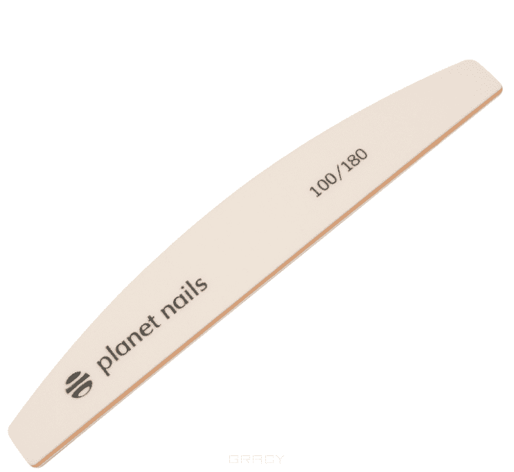 Купить Planet Nails, Пилка для ногтей широкая полукруглая Mylar (2 вида), 1 шт, Белый 100/180 грит