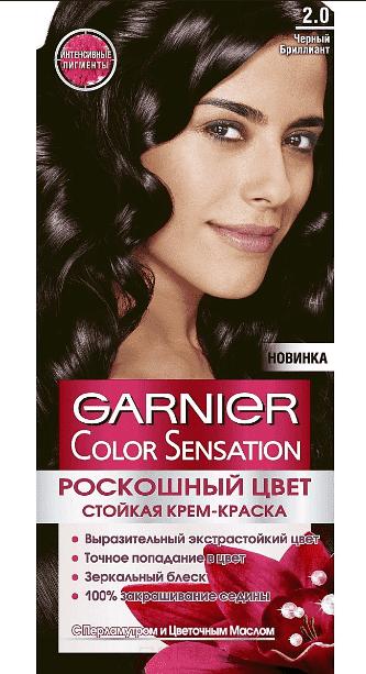 Garnier, Краска для волос Color Sensation, 110 мл (25 оттенков) 2.0 Черный бриллиантОкрашивание<br><br>
