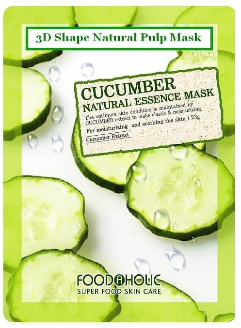 FoodaHolic, Тканевая 3D маска с экстрактом огурца Cucumber Natural Essence Mask, 23 мл essence longlasting lipstick 07 цвет 07 natural beauty variant hex name ce677e