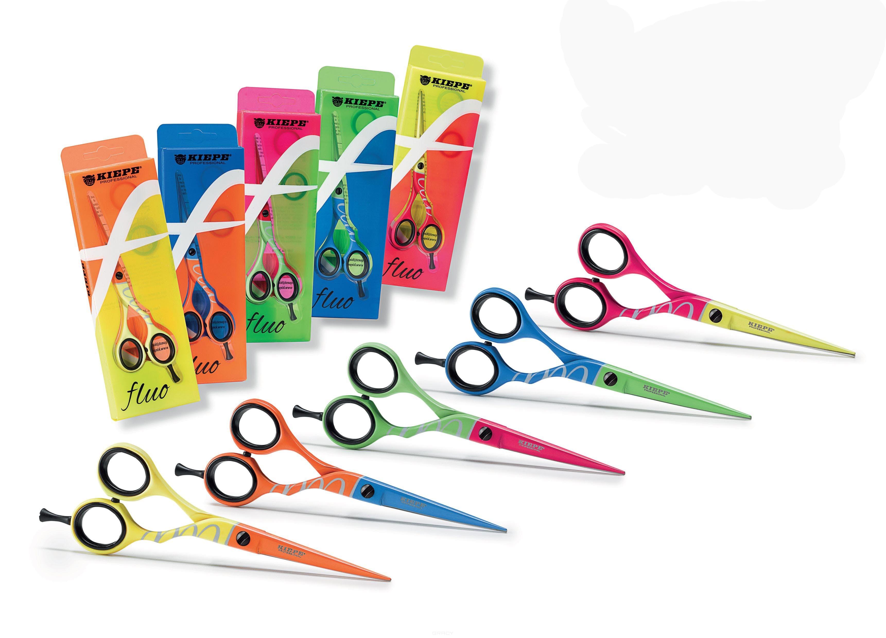 Kiepe, Ножницы прмые 5,5 Fluo оранжево-желтые (5 цветов), 1 шт, зелено-розовые 2438-55-1Ножницы дл стрижки волос<br><br>