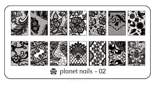 Planet Nails, Пластина для Stamping Nail Art (15 видов) Пластина для Stamping Nail Art - 02 portable stainless steel nail art manicure set nail care tools with nail cutter clipper file scissor eyebrow tweezers
