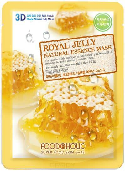 FoodaHolic, Тканевая 3D маска с экстрактом пчелиного маточного молочка Royal Jelly Natural Essence Mask, 23 мл тканевая маска mj care syn ake essence mask объем 23 г