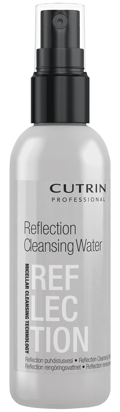Reflection CLEANSING WATER Cредство для удаления красителя с кожи, 75 млбережно и эффективно удаляет остатки красителя с кожи&#13;<br>   &#13;<br>    в основе мицеллярная технология нового поколения&#13;<br>   &#13;<br>    не содержит спирт, ПАВы&#13;<br>   &#13;<br>    нейтральный уровень PH, не сушит и не повреждает кожу&#13;<br>   &#13;<br>    удобная упаковка с дозатором&#13;<br>   &#13;<br> Протестировано дерматологами &#13;<br>    &#13;<br>   Мицеллярная технология в основе Reflection Cleansing Water позволяет мгновенно и эффективно поглощать остатки искусственных пигментов красителя с кожи, бережно очищая ее.Секрет технологии: мицеллярная вода, в основу которой входят мицеллы, наномолекулы, которые как магнит притягивают и удаляют остатки красителя с кожи.Использование данной технологии позволяет применять продукт для гиперчувствительной кожи.CUTRIN стал первым брендом, использующий мицеллярную технологию в производстве профессиональной косметики для волос. &#13;<br>    &#13;<br>   Применение: нанести средство на ватный диск и удалить излишки красителя с кожи. Для достижения наилучшего результата необходимо использовать продукт сразу...<br>