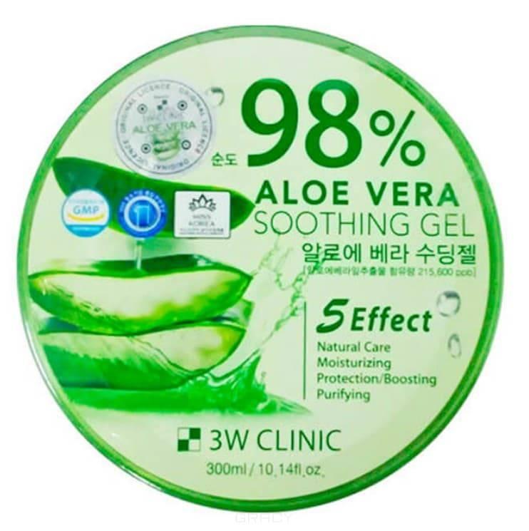 Купить 3W Clinic, Универсальный гель алоэ для лица и тела 98% Aloe Vera Soothing Gel, 300 г
