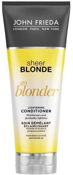 Кондиционер осветляющий для натуральных, мелированных и окрашенных волос Sheer Blonde Go Blonder, 250 млПостепенно осветляет и глубоко питает волосы.&#13;<br>&#13;<br>  Специальный уход для натуральных, мелированных и окрашенных светлых волос.&#13;<br>&#13;<br>  Формула с увлажняющим цитрусовым комплексом и ромашкой разглаживает, питает волосы и придает им шелковистость.&#13;<br>&#13;<br>  Для всех типов светлых волос.&#13;<br>&#13;<br>  Придает волосам здоровый вид и необыкновенный солнечный блеск.&#13;<br>&#13;<br>&#13;<br>&#13;<br>    &#13;<br>  &#13;<br>&#13;<br>Применение:&#13;<br>&#13;<br>Начните мытье головы с применения Осветляющего шампуня Go Blonder. Удалите излишки влаги и равномерно нанесите кондиционер на волосы. Тщательно ополосните. Продолжайте использовать регулярно для поддержания стойкого эффекта сияющих на солнце волос.&#13;<br>&#13;<br>&#13;<br>    &#13;<br>  &#13;<br>&#13;<br>Активные ингредиенты:&#13;<br>&#13;<br>цитрусовый комплекс;&#13;<br>&#13;<br>экстракты ромашки;&#13;<br>&#13;<br>молочная кислота.<br>