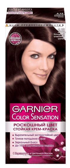 Garnier, Краска для волос Color Sensation, 110 мл (25 оттенков) 4.12 Холодный алмазный шатен garnier краска для волос color sensation 110 мл 25 оттенков 10 21 перламутровый шелк
