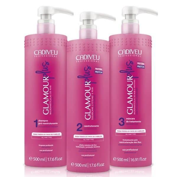 Cadiveu Professional, Glamour Plus Набор для цистеирования волос Кадевью Гламур Плюс, 500/500/500 мл cadiveu professional glamour plus набор для цистеирования волос кадевью гламур плюс 500 500 10х15 мл