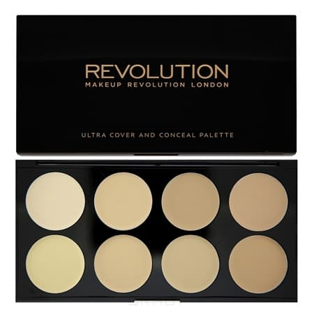 цена на MakeUp Revolution, Консилер для лица Ultra Cover and Conceal Palette, 10 гр (3 варианта), Medium - Dark