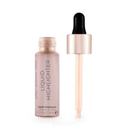 MakeUp Revolution, Хайлайтер жидкий для лица Liquid Highlighter, 18 мл (12 оттенков) Liquid Starlight nyx professional makeup кремовый хайлайтер away we glow liquid highlighter state of flux 02