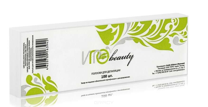 Igrobeauty, Бумага в полосках для депиляции Ahlstrom, 7,5х23 см (2 цвета), 50 шт./уп., БелаяGreenism - эко-серия для ухода<br><br>