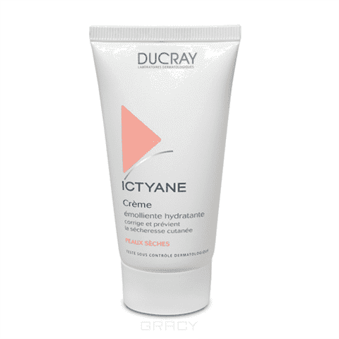 Крем для сухой кожи Ictyane для лица, 50 млОписание:&#13;<br> &#13;<br> Сохраняет и усиливает сцепление рогового слоя, поддерживает оптимальный уровень увлажненности кожи, предотвращает потерю воды.&#13;<br> &#13;<br> Способ применения:&#13;<br> &#13;<br> Наносить 1-2 раза в день на очищенное лицо и тело. Рекомендуется использовать в сочетании с другими средствами гаммы Иктиан.&#13;<br> &#13;<br> Состав:&#13;<br> &#13;<br> Вазелиново-глицериновый комплекс.&#13;<br> Гипоаллергенная отдушка.<br>