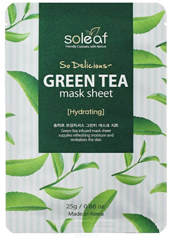 Купить Soleaf, Тканевая маска для лица с зеленым чаем So Delicious Green Tea Mask Sheet, 25 мл