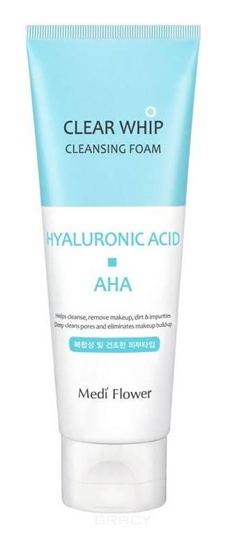 Купить Medi Flower, Пенка для умывания с гиалуроновой кислотой и AHA кислотам Clear Whip Cleansing Foam Hyaluronic Acid AHA, 120 мл