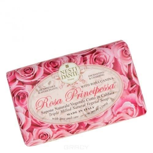Мыло Роза Принцесса, 150 грNesti Dante Мыло Rosa Principessa (Роза принцесса) - растительное мыло премиум-класса, выполненное посредством ручной технологии мыловарения из натуральных компонентов. Лёгкий, романтичный аромат цветущих роз в весенних садах - в одном кусочке мыла Rosa Principessa. Роза является одним из самых красивых цветов, имеет восхитительный аромат и гордый статус Королевы Цветов. Веками аромат розы считался символом страсти, любви, нежности и роскоши. Благодаря входящему в состав экстракту розы, мыло бережно ухаживает за кожей рук и тела во время мытья, оказывает лёгкое антисептическое и осветляющее действие и подходит для любой кожи.&#13;<br> &#13;<br>Способ применения: &#13;<br>    &#13;<br>   Намылить увлажненную кожу лица и тела, не допуская попадания в глаза, после чего тщательно смойте его водой<br>