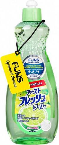 Funs, Жидкость для мытья посуды овощей и фруктов свежий лайм, 600 мл