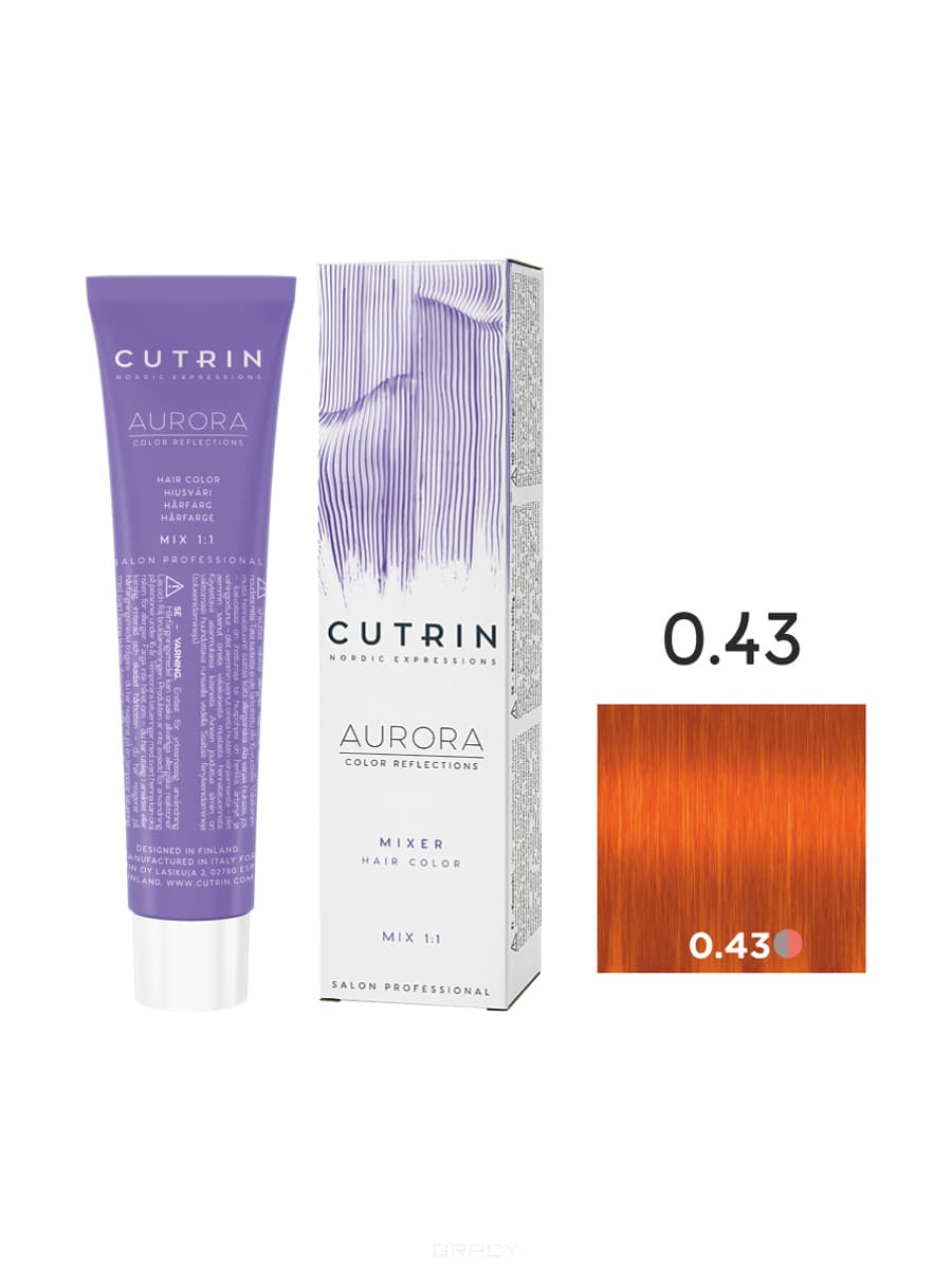 Cutrin, Кутрин краска для волос Aurora Аврора (SCC-Reflection) (палитра 97 оттенков), 60 мл 0.43 Апельсиновый микс-тон фото