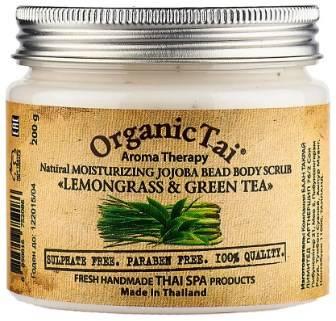 Купить Organic Tai, Скраб для тела Aroma Therapy Natural Moisturizing Jojoba Bead Body Scrab Lemongrass & Green Tea , 200 гр
