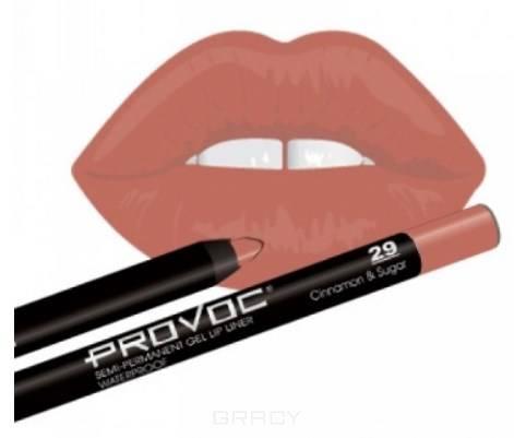 Provoc, Гелевая подводка в карандаше для губ Gel Lip Liner (12 тонов) 029 Cinnamon&Sugar (цв. беж-розовый) отбеливающий гелевый карандаш white shock gel pen бланкс