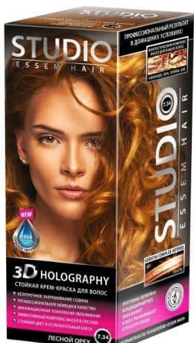 Studio, Краска для волос 3D Golografic (26 оттенков), 50/50/15 мл 7.34 Лесной орех brilliant спот brilliant charlie g18110 15