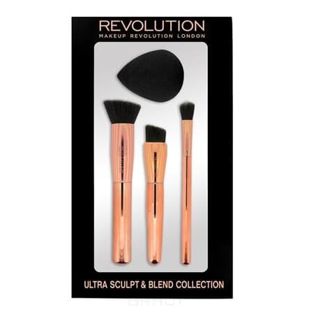 MakeUp Revolution, Набор кистей и спонжа для скульптурирования Ultra Sculpt & Blend Sponge Brush Collection набор миниатюрных кистей для макияжа makeup revolution i heart makeup unicorns unite brush kit