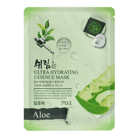 Shelim, Тканевая маска для лица с натуральным экстрактом алоэ Ultra Hydrating Essence Mask Aloe, 25 мл