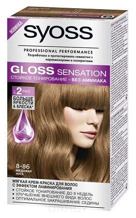 Syoss, Крем-краска для волос Gloss Sensation без аммиака, 115 мл (20 оттенков) 8-86 Медовая нуга