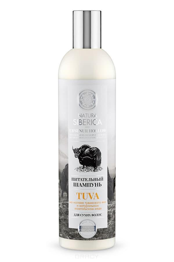 Шампунь для сухих волос Питательный Tuva, 400 млПитательный шампунь мягко очищает и насыщает волосы необходимыми элементами, возвращая им здоровый вид и природный блеск.&#13;<br> &#13;<br> Молоко тувинского яка – неиссякаемый жизненный источник силы ваших волос. Оно содержит витамины и минеральные вещества, которые питают волосы, приподнимают их от корней, не утяжеляя их, что облегчает процесс расчесывания.&#13;<br> &#13;<br> Натуральный мед содержит витамины группы В, Е, К, С, которые укрепляют волосы по всей длине, заряжая их энергией. После применения бальзама ваши волосы сияют красотой.&#13;<br> &#13;<br>Нанесите шампунь на влажные волосы, массирующими движениями взбейте в пену, смойте водой. При необходимости повторите.<br>