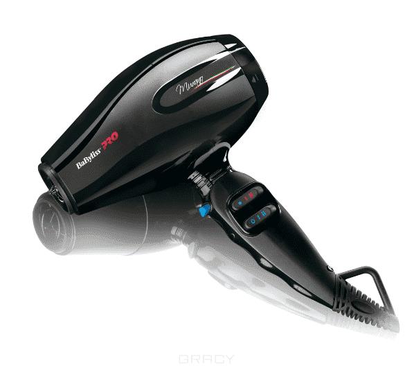 Фен Murano, 2000Вт, ионизация, 2 насадки BAB6160INE/6160INREBaByliss Pro Murano профессиональный фен для волос BAB6160INE/6160INRE. Произведено в Италии, мощность 2000Вт, 2 насадки, система ионизации, вес 510гр, 6 режимов работы, кнопка холодного воздуха, 2 сопла, компактный корпус 16.5 см.&#13;<br>&#13;<br>Фен для волос BaByliss Pro Murano оснащен сверхлегким мотором.Мотор поддерживает две скорости подачи горячего воздуха. В распоряжении парикмахера будет также четыре температурных режима. Передняя решетка фена имеет керамическое покрытие.&#13;<br>&#13;<br>Длинный шнур позволяет не заботиться о том, насколько далеко от места работы находится ближайшая розетка.&#13;<br>&#13;<br>В комплекте к фену имеется две насадки, которые существенно разнообразят его функции. Фен весит 510 граммов, однако удобство дизайна компенсирует нагрузку на руки мастера.<br>