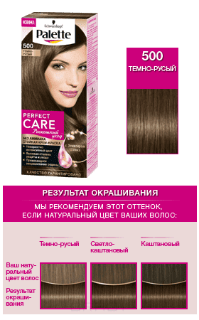 Schwarzkopf Professional, Краска для волос Palette Perfect Care, 110 мл (25 оттенков) 500 Темно-русыйОкрашивание<br><br>