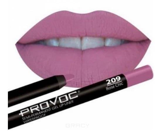Provoc, Гелевая подводка в карандаше для губ Gel Lip Liner (12 тонов) 209 Rose Chic (цв. натур-розовый, темн) карандаш для губ provoc semi permanent gel lip liner 16 цвет 16 satin sheets variant hex name ff86c8