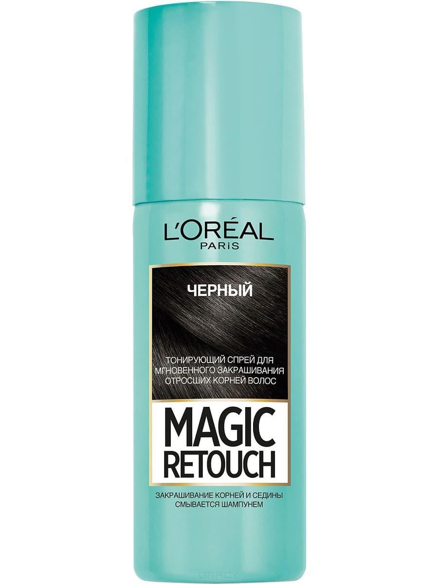 L'Oreal, Краска спрей в баллончиках Magic Retouch, 75 мл (7 оттенков) 1 Черный краска для авто в баллончиках