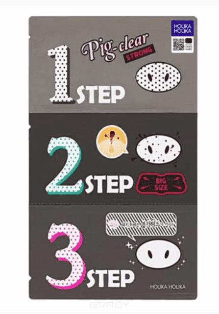 Купить Holika Holika, Pig Nose Clear Blackhead 3-step kit Очищающая система с древесным углем, 15 гр Холика Холика