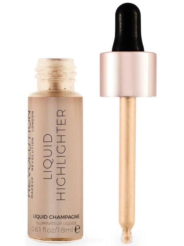MakeUp Revolution, Хайлайтер жидкий для лица Liquid Highlighter, 18 мл (12 оттенков) Liquid Champagne nyx professional makeup кремовый хайлайтер away we glow liquid highlighter state of flux 02